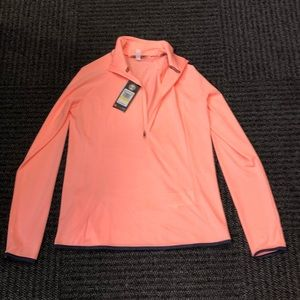 NWT Under Armour 1/4 zip coral top w/ navy piping